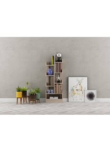 Sanal Mobilya Bibop Kitaplık Sonomo Kahve